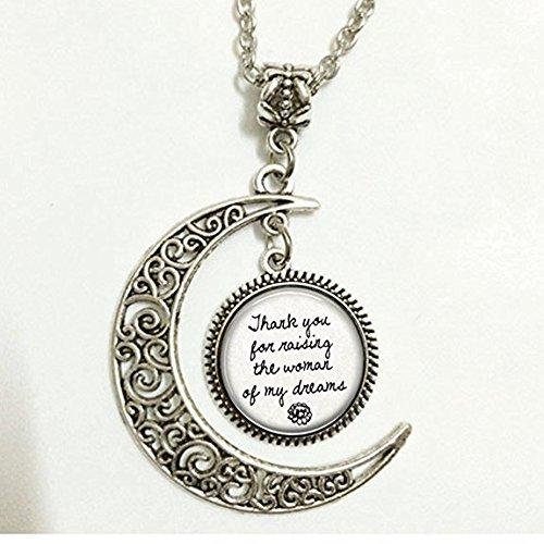 Anhänger Halbmond Mutter der Braut oder des Bräutigams Halskette: Danke für die Dame, Die Meine Träume (Mutter Der Bräutigam-anhänger)