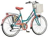 breluxx 26 Zoll Damenfahrrad Venera Fashion Secret Gabrielle Citybike Korb + Licht Retro Damenrad, 6 Gang Shimano