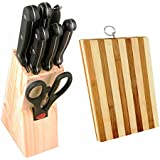 Home Creations Set Of (Kitchen Knife Set With Wooden Stand - 8 Pieces) With Wooden Chopping Board
