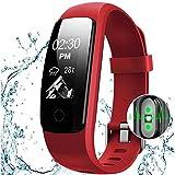 OCEVEN Fitness Armband mit Herzfrequenz,Fitness Tracker Pulsuhr Aktivitätstracker mit Schlafüberwachung,IP67 Wasserdichte Bluetooth Fitness Uhr mit GPS Schrittzähler Kalorienzähler für Android und iOS(Rot)