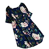 Heiß! Damen Kleid Yesmile Frauen Frühling Sommer Lose Halbe Hülse Minikleid Blumendruck Bowknot Ärmeln Cocktail Minikleid Casual Party Kleid (4XL, Blau-B)