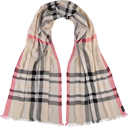 FRAAS XXL-Schal mit Karo-Muster für Damen - aus 100% Viskose - elegantes Mode-Accessoire passend zu jedem Fashion-Stil Beige