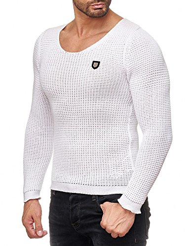 Redbridge Herren Uni Strick Pullover grober Strickpullover einfarbig mit tiefem Rundhals Ausschnitt Slim Fit körperbetont anliegend Weiß