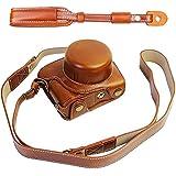 First2savvv XJD-J5-HH09 brun Qualité supérieure PU cuir étui housse appareil photo numérique pour Nikon 1 J5 with 10-30mm LENS + brun Bandoulière
