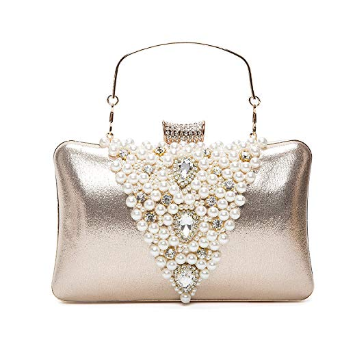 Baigio pochette donna elegante oro da cerimonia, clutch borsetta da sera perle borsa con catena per matrimonio festa