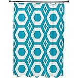 E por diseño más abrazos y besos impresión geométrica cortina de ducha, Caribe