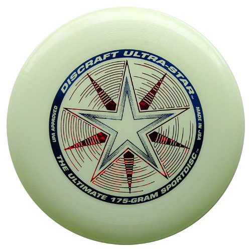 Discraft- Ultra Star Nite Glo Sport du Disque, DCUSSN, Blanc