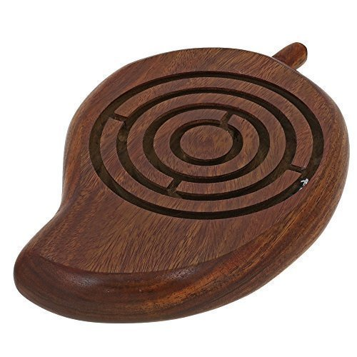 "Handcrafted Wooden Mango Shape Labyrinth Ball Maze Board Game - Unique Games for Kids - Travel Toys for Children - 7.5"" x 5"" x 1"""