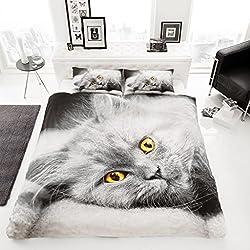 Lujo Edredón conjuntos ropa de cama fundas de almohada Funda de gatito de gato Animal Impreso, matrimonio