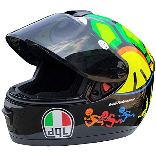 WWtoukui Fashion Turtle Motorrad Helm, Elektro-Auto-Lokomotive ATV Mountainbike Racing Motocross Race Integralhelm, DOT zertifizierter Helm,XL:58~59cm