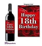 Rosas Tema Happy 18th Birthday botella de vino etiqueta
