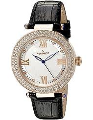 Cristal de oro color de rosa de las mujeres de Peugeot en la versión de color negro de la correa de cuero reloj de pulsera para mujer