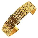 AUTULET Herren Edelstahl Uhrarmband Gold 20mm