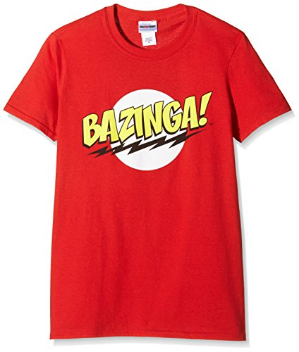 Big Bang Theory Bazinga, T-Shirt Uomo, Rosso, Large