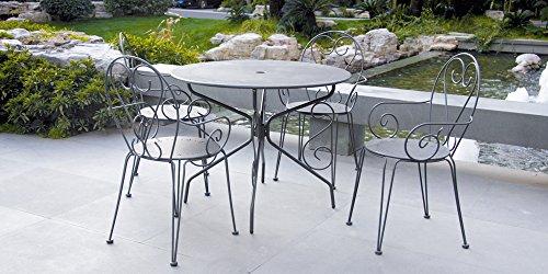 Inconnu Salon de Jardin métal Gris : 1 Table Ronde + 4 fauteuils