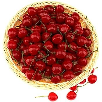 la cuisine ornement pour le bureau Zhichengbosi Lot de 25 petites cerises rouges/artificielles r/éalistes d/écoration de f/ête faux fruit de d/écoration pour la maison