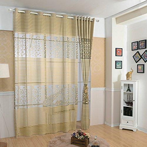 iodvfs Blattmuster, ausgestanztes Fenster Leinen Vorhang Sheer Fall Schlafzimmer Decor, Leinen, Multi, 100 * 270cm (Sheer Leinen Vorhänge)