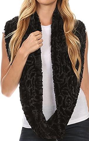Sakkas 16102 - Mellah Longue Large Doux Fourrure Furry Fuzzy Infinity Automne Hiver Wrap Scarf - Noir -