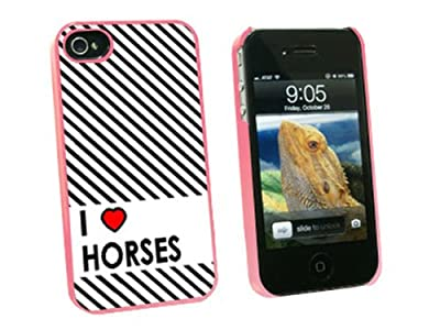 Graphics and More I Love Heart Horses Snap-On Hard Protective Case for Apple iPhone 4/4S - Non-Retail Packaging - Pink by Graphics and More