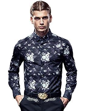 [Sponsorizzato]FANZHUAN Camicia Uomo Fantasia Fiori Rossa Maniche Corte Print Slim Fit Fashion