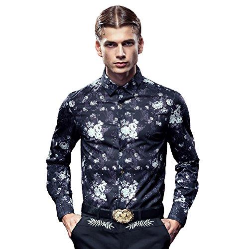 FANZHUAN -  Camicia Casual  - Uomo Black Fancy