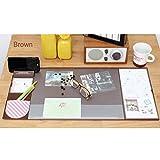 Famhome soporte de escritorio mate gran tamaño ratón cojín œanti escritorio mouse tapete escritorio impermeable protector alfombra con smartphone, calendario y bolígrafo Medio marrón