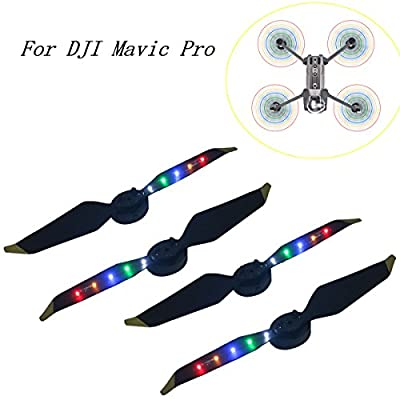 2 Pair DJI Mavic Pro / Platinum Propeller Low Noise Quick-release Foldable Props,with Flash LED Light Universal Accessories for DJI Mavic Pro Platinum Drone