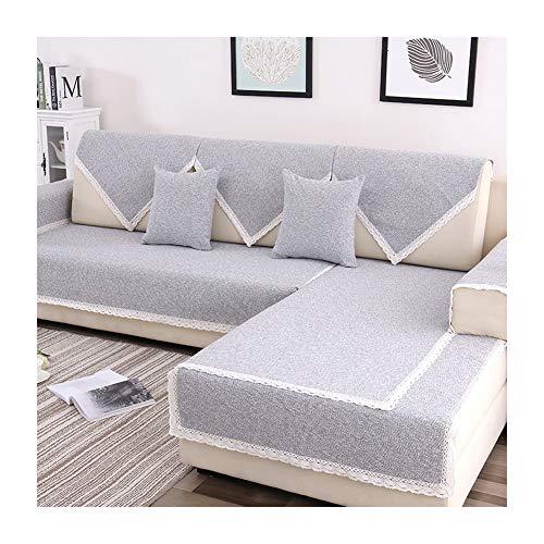 Kswd copridivano, tinta unita copri divano cotone e lino quattro stagioni copri divani nordico copertura divano antirughe non tossico privo di formaldeide,c,90x240cm