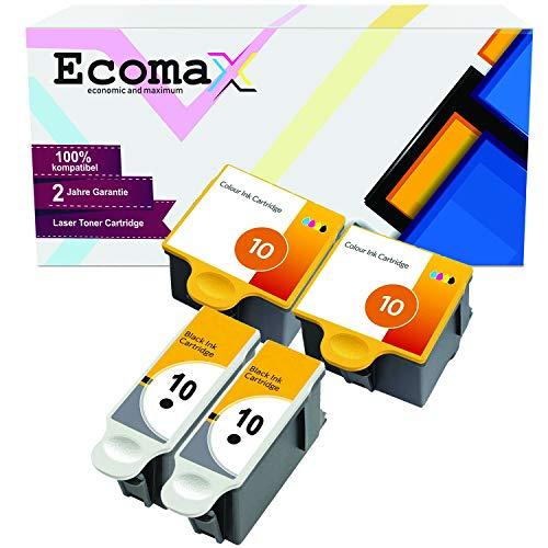 Ecomax 4 XL Druckerpatronen kompatibel zu Kodak 10 (10B + 10C) für Kodak ESP 3 ESP 5 ESP 7 ESP 9, Easyshare 5300 5500 ESP 3250 5250 7250 9250, Hero 7.1 Hero 9.1 Hero Office 6.1 Kodak 7