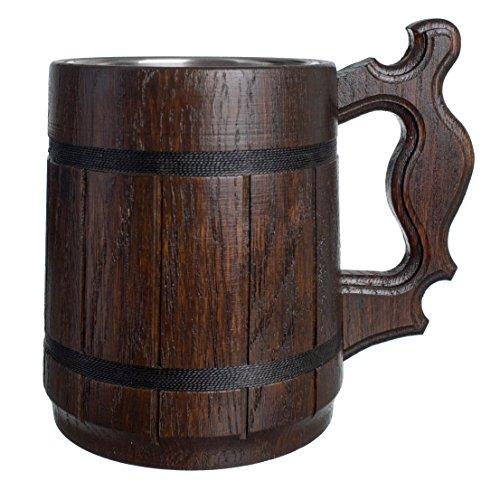 Boccale di birra artigianale in legno di quercia tazza in acciaio inox naturale con coperchio in legno ecologico 0.6l 20 oz classico marrone