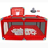 HQQ Playpens 8 Panel , Faltbares tragbares Baby mit Basketballkorb-Kinderspielstiften Boy Activity Center Home Indoor Outdoor (Farbe : Rot)