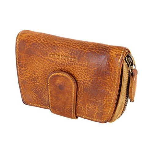 Kleine (Mittelgroße) Damen Geldbörse, Portemonnaie, Geldtasche Old River 5025 (9/13,5/3 cm), gewaschenes echtes Leder, hell tan -
