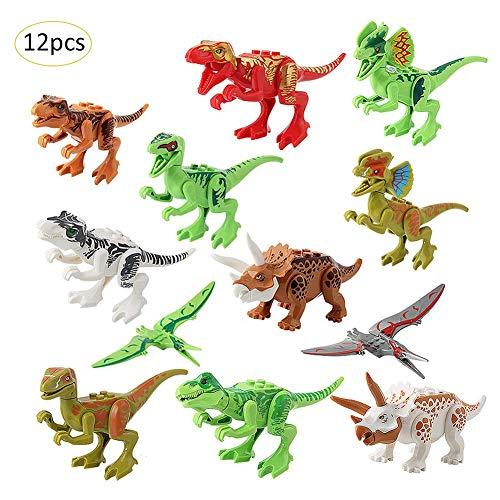 Riverry Puzzle-Montage, Dinosaurier Bausteine, Kinder Dinosaurier Spielfigur Spielzeug Sets, Mini Dino Bau Playsets Tier Pädagogische Kits Geschenke Für Jungen Mädchen Kleinkinder Party Dekoration