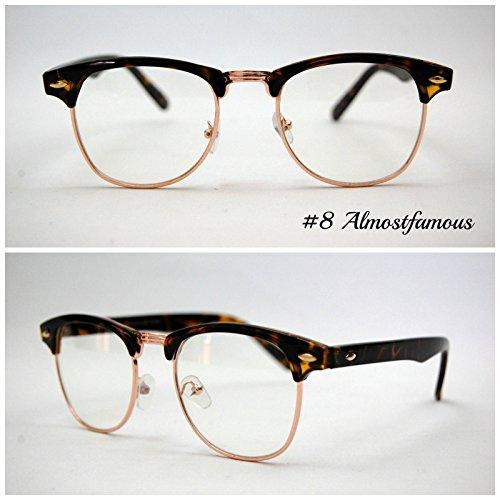 Pretty Smart Glasses Schildkröte Clubmaster klare Gläser Classic Retro 1980's Vintage Schwarz/Schildpatt Gold Rand Clubmaster Sonnenbrille