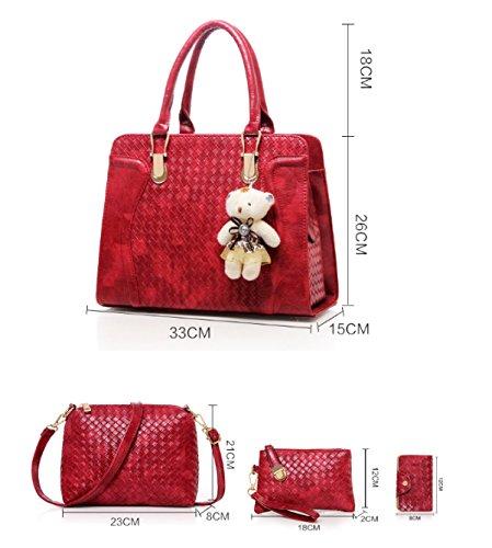 Borsa Da Donna In Pelle Pu A Quattro Pezzi Pacchetto Moda Donna Grande Capacità Tessere Spalla Messenger Bag Nero