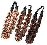 cuhair 3teilig Kunsthaar Perücke Twist Hair Bands Fashion Zöpfe Haar Zubehör Frauen Bohemian geflochten Elastic Haarband Stretch Stirnband Hoop