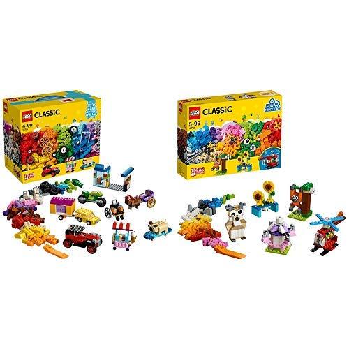 LEGO Classic 10715 - Kreativ-Bauset Fahrzeuge, Spielzeug &  Classic 10712 - Bausteine-Set, Zahnräder, Bunt