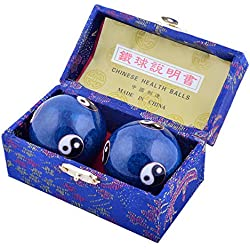 Feng Shui riesgo para la salud Exersice antiestrés bolas de diámetro: cm 4,8/4,83 cm W incluye Mxsabrina rojo cordaje de tripa natural para pulsera elástica de bolas con F1120