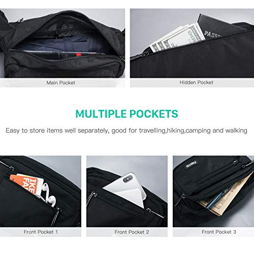 516Zvt27%2BvL. SS500  - FREETOO Large Bum Bag 32.7 to 45.3 Inch Size Waist Travel Pouch Fanny Pack with 6 Zipped Pockets Ideal For Hiking Travel Holidays Festivals