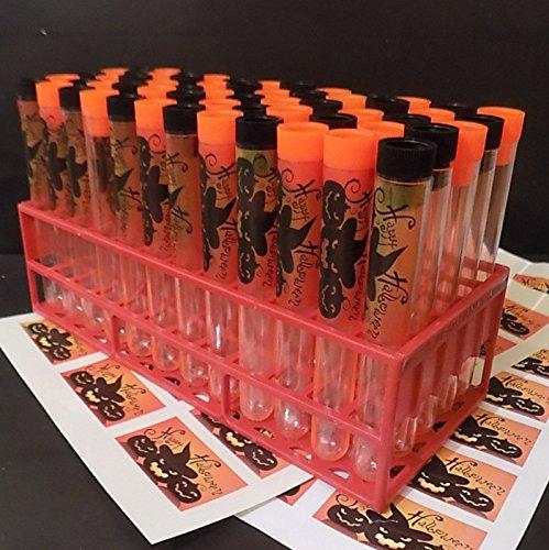 n Thema Schwarz, Orange Pfropfen mit Aufkleber (Halloween-test-tubes)