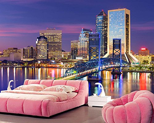 WH-PORP Rivers Bridges Evening City Building 3D tapete,Living Room-250cmX175cm