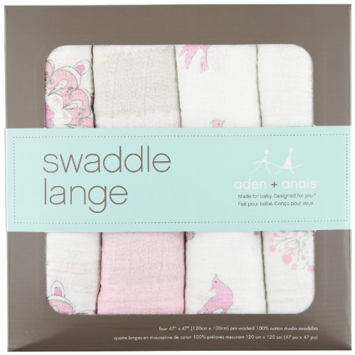 aden + anais 2035G Classic Swaddle For The Birds, 4er pack