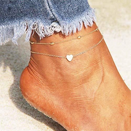 ußkettchen Gold oder Silber Perlen Knöchel Armbänder Fußschmuck Für Frauen und Mädchen (Gold) ()