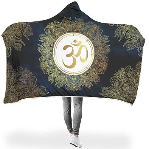 Lind88 Fledermaus-Decke mit Buddhismus, Lotus-Muster, Mikrofaser, Fleece, Sherpa, leicht, hochwertig, warm, Bademantel mit Kapuze, Buddhismus, Lotus, Weiß, 127 x 152 cm