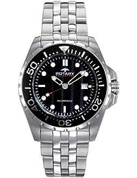Rotary Aquaspeed - Reloj analógico de caballero de cuarzo con correa de acero inoxidable plateada