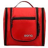 Eono Essentials Grand Hommes et Femmes Cosmétique Sac Pour Maquillage, Cosmétique, Rasage, Accessoires de Voyage, Articles Personnels - Kit de toilette à accrocher Maquillage Organisateur Rouge