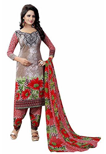 Ishin Synthetic Brown & Red Party Wear Wedding Wear Casual Daily wear Festive Wear Bollwood New Collection Printed Latest Design Trendy Unstitched Salwar Suit Dress Material (Anarkali/Patiyala) With D
