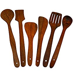 ITOS365 Handmade Wooden Serving and Cooking Spoon Kitchen Utensil - Set of 6