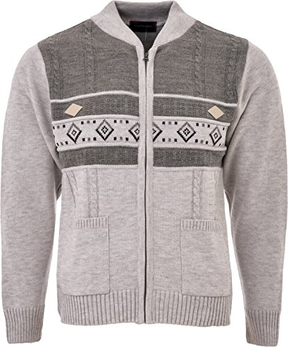 Mens Knitted Cardigan Full Front Zip Closure Dual Tone Design Zipper Top