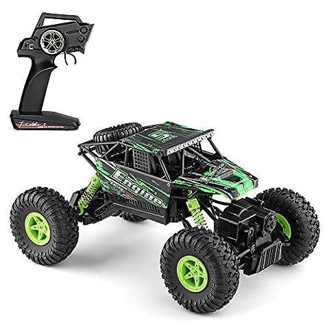 MiGoo RC Rock Crawler Monster Truck Voiture électrique de commande à Distance 2.4 GHz, 4 WD 1:18 Échelle Donner des Cadeaux (Vert)